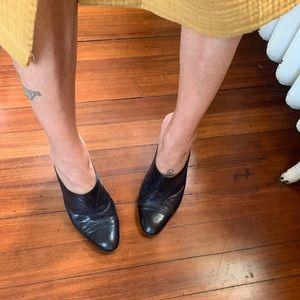 Vintage Italian perforated leather heeled mules 6